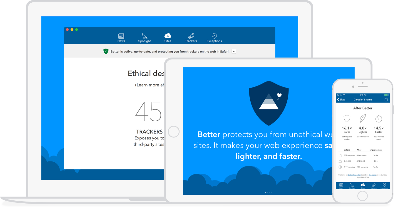 Better Blocker running on Mac, iPad, and iPhone